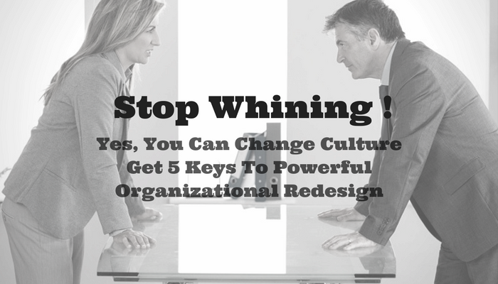 Stop Whining! Yes You Can Change Culture